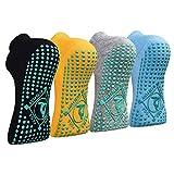 Yoga Socken Anti-Rutsch-Socken (4 Paare) für Damen Pilates, Yoga, Barre, Tanz, Ballett, Kampfsport,...