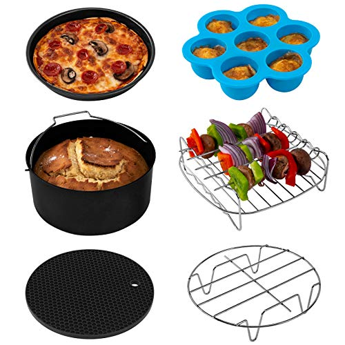 COSORI Accessories XL (C158-6AC) Set of 6 Fit all 5.8Qt, 6Qt Air Fryer, BPA Free, Dishwasher Safe, Nonstick Coating, Black