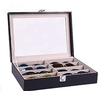 Siveit 8 Slot Sunglass Organizer Leather Eyeglasses Collector Eyewear Display Case Storage Box