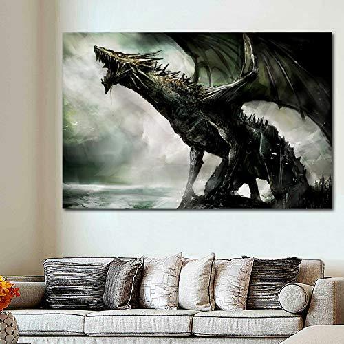 Bpieft Puzzle 1000 Piezas, Dragón Monstruo Criatura fantasía Puzzles para Adultos, Rompecabezas de Piso Juego de Rompecabezas y Juego Familiar 50x75cm