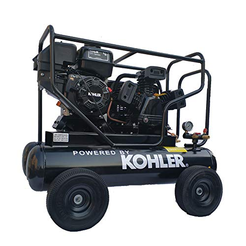 HPDMC 6.5HP Gas Driven Piston Air Pump KOHLER RH65 Engine Belt drive gas-powered 20-Gal Hor Tank 17cfm @125psi for Workshop Compressor Portable Compressed System