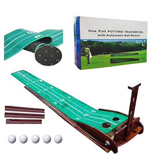 CHENGYAN Golf Putting Mat Golf Green Indoor and Outdoor with Auto Ball Return,Crystal Velvet Mat and Solid Wood Base