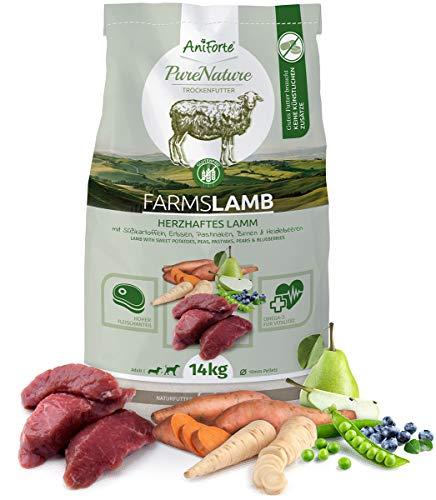 AniForte Natürliches Hunde-Futter Trockenfutter Farms-Lamb 14kg, Herzhaftes Lamm mit Süßkartoffeln, 100% Natur, Allergiker, Getreide-Frei, Glutenfrei, Ohne Chemie, künstliche Zusätze und Vitamine