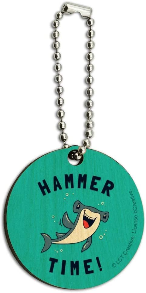 Hammerhead Shark Popularity Hammer Time Funny Humor Keych Wooden Wood Round At the price of surprise