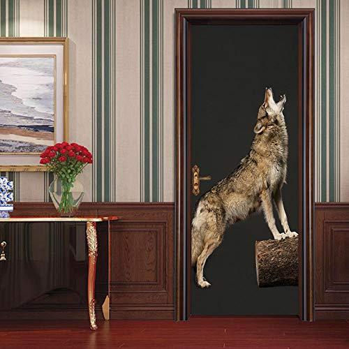 ZWLZJO Engomada del Arte Moderno 3D Lobo animal aullando 95x215cm Etiquetas de Puerta Papel Pintado Puerta Desmontable Poster Pegatinas Autoadhesivo Impermeable Pegatinas de Pared
