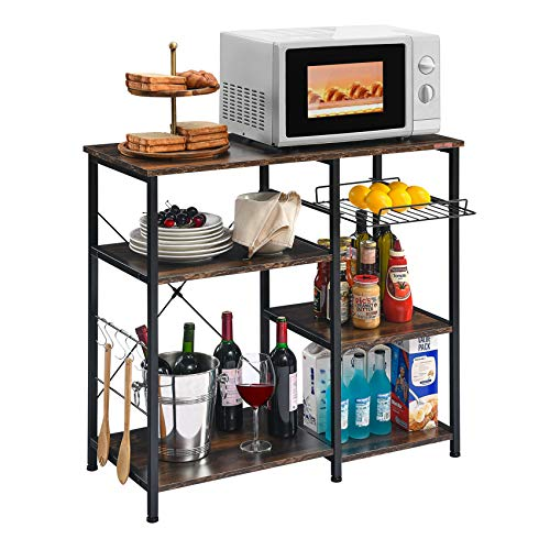 Mr IRONSTONE Kitchen Baker's Rack Utility Storage Shelf Microwave Stand 3-Tier+3-Tier Table for Spice Rack Organizer Workstation (Charcoal Brown)