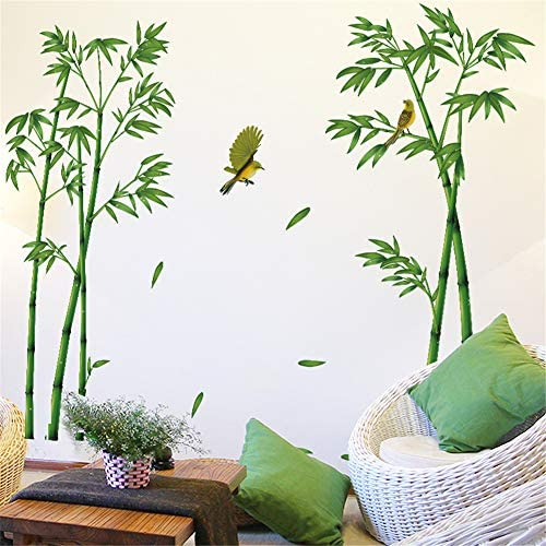 AAPBB Bamboo Wall Stickers Vinyl Wall Stickers Green Plant Sticker TV Background Wall Bedroom product image