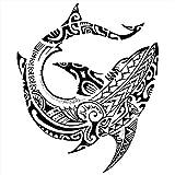 Tatouages temporaire poisson maori divinité - pour homme et femme tatouage éphémère - avant bras/jambe/mollet/bras/nuque - 21 x 15 cm