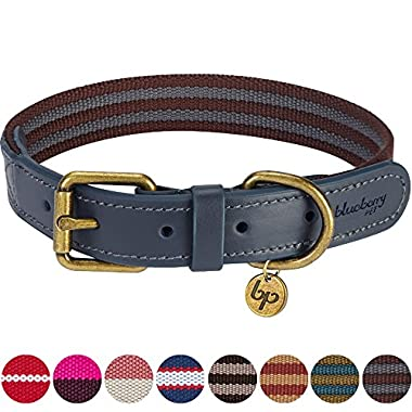 Blueberry Pet 8 Colors Polyester Fabric and Soft Genuine Leather Webbing Dog Collar in Noir Grey and Burgundy, Large, Neck 18 -22 , Adjustable Collars for Dogs