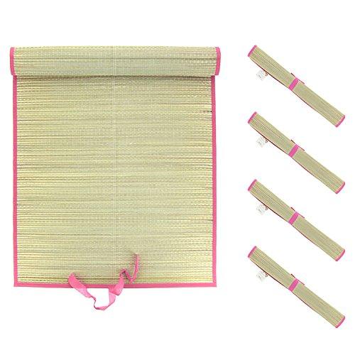 Mojawo 4er Set XL Stranddecke Strandmatte Bastmatte Strohmatte Picknickdecke Matte Decke Strand Liegedecke pink L180xB60cm