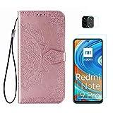Funda para Xiaomi Redmi Note 9S y Xiaomi Redmi Note 9 Pro + Protector de Pantalla Cristal Templado + Protector de Cámara Lente, Carcasa Libro Con Tapa Flip Case Antigolpes PU Cuero Mandala Oro Rosa