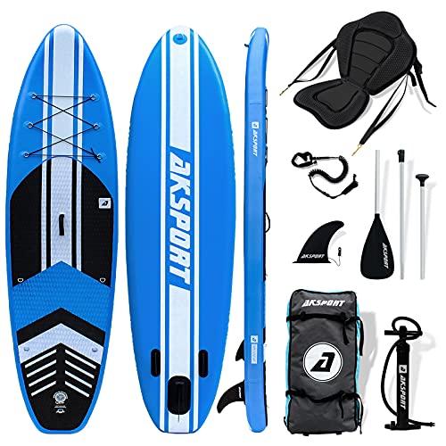 AKSPORT Tabla de SUP con asiento de kayak | tabla de surf de remo hinchable | 320 x 81 x 15 cm | 6 pulgadas de grosor | tabla de surf premium | accesorios completos