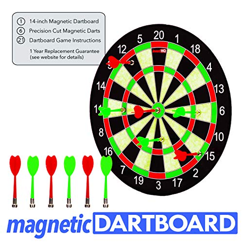 INVENTHQ Magnetic Dartboard Set - 14 inch Dartboard, 6 Magnetic Darts and 21 Game Instructions
