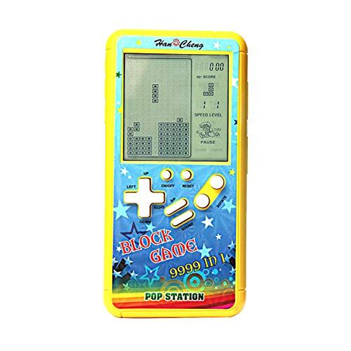 Nueva carcasa de color pantalla grande consola de juegos de ladrillo retro cuerpo pequeño pantalla grande incorporada 23 juegos con 2 pilas AA (no incluidas) viajes al aire libre interiores (Amarillo)