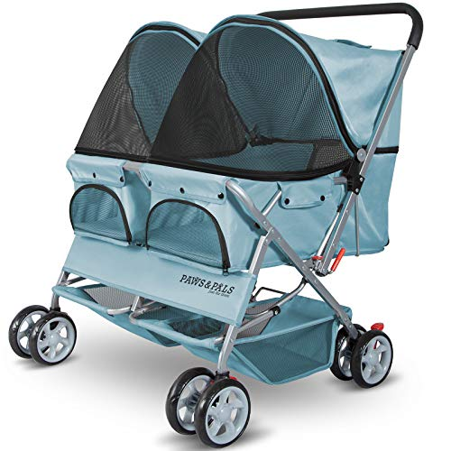 Paws & Pals Double Dog Stroller Easy to Walk Folding Travel Carriage for Pets & Cats - Blue