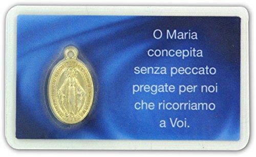 Ferrari & Arrighetti Bustina con medaglia Madonna Miracolosa Dorata, Dimensione Card: 6 x 4 cm (Confezione da 20 Pezzi)