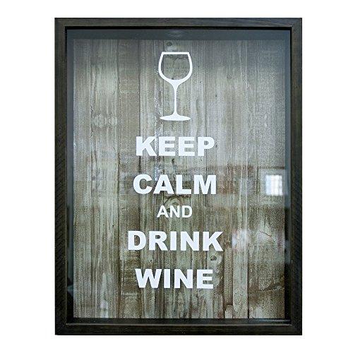 "Quadro Porta Rolhas, Kapos, ""Keep Calm and Drink Wine"", 32x42cm"
