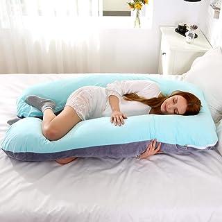 TTZY Almohada de Embarazo Almohada de Apoyo para Mujeres Embarazadas Funda de Almohada de algodón en Forma de U Almohadas de Maternidad Embarazadas Sleepers Side, 19,120X65cm