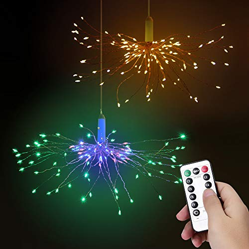 Navidad Luces Hadas Luces Fuegos Artificiales LED, Bawoo String Light 2 Kit 120 luces LED Glitter Fairies Luces Decorativas Jardín Blanco Cálido Multicolor 8 Modos Remoto Navidad Fiesta Florero Inicio