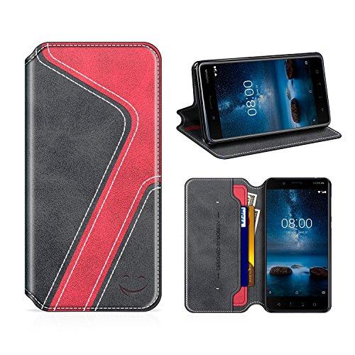 MOBESV Smiley Nokia 8 Hülle Leder, Nokia 8 Tasche Lederhülle/Wallet Hülle/Ledertasche Handyhülle/Schutzhülle mit Kartenfach für Nokia 8, Schwarz/Rot