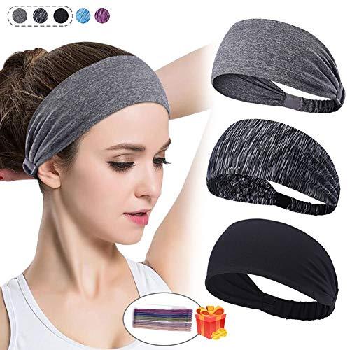 HDZIYU Women Yoga Headbands Moisture Wicking Running Fitness Sports Sweatband for Men Non Slip Elastic Wide Turban Knotted Cross Riding,Basketball,Running,Dancing,Pilates.3 Pack