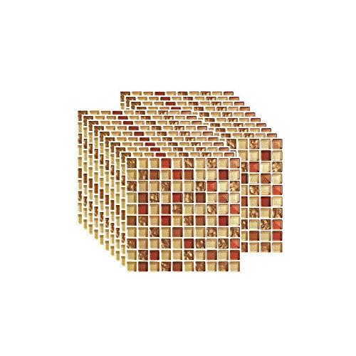 Zhhlaixing 20PCS Fliesenaufkleber PVC, Mosaik Fliesen Klebefolie Selbstklebend Hitzebeständig Wasserdicht Fliesensticker für Küche Fliesendekor Wandaufkleber Mosaikstil Gelb (10 x 10 cm / 4 x 4 Zoll)