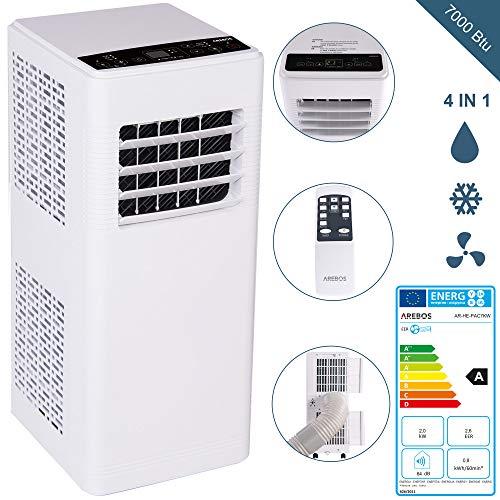4in1 Mobile Klimaanlage | 7.000 Btu/h | 2 Geschwindigkeitsstufen | Klimagerät | Luftreiniger | Klima | Ventilator mit Fernbedienung | Luftkühler | Entfeuchter | Nachtmodus | Weiß/Schwarz