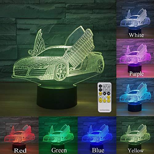 MLSWW 3D Nachtlicht Fernbedienung touch control schere tür supercar 3d lampe 7 farbe led nacht lampe für kinder touch led usb tischlampe nachtlicht
