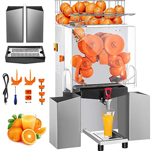 VEVOR Commercial Juicer Machine with Water Tap, 110V Juice Extractor, 120W Orange Squeezer, Orange Juice Machine for 25-35 Per Minute with Pull-Out Filter Box Acrylic Cover and Two Collecting Buckets