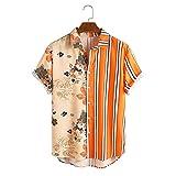 Camisa Casual de Manga Corta para Hombres,Camisas Casuales,Camisas Slim Fit,Camisas de Manga Corta,Camiseta de Mezcla de algodón para el Verano para Hombres de Tejido elástico clásico