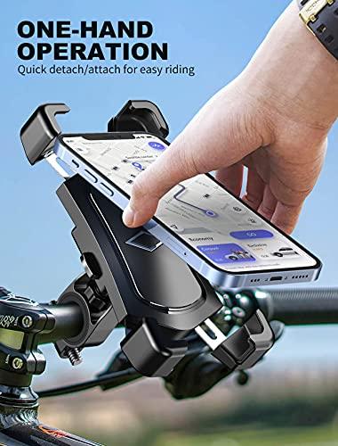 Soporte Movil Bicicleta Desmontable, 360° Rotación Soporte Movil Moto, Acero Inoxidable Anti Vibración Soporte Movil Bici Compatible con iPhone 12 SE, Samsung S20 Ultra y Otro 4.5-7.2