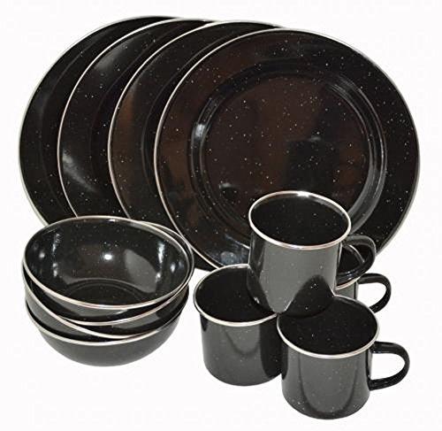 A.Blöchl Juego de Cocina esmaltada de 12 Piezas Western para 4 Personas (12 Teilig/Negro)