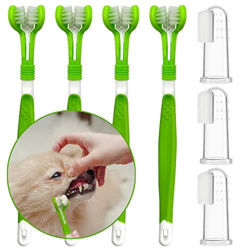 Aidiyapet 犬歯ブラシ 中大型犬用歯ブラシ 犬 はぶらし 3面ブラシ 犬 指歯ブラシ 犬デンタルケア 歯垢 汚れ プラーク(7点セット)
