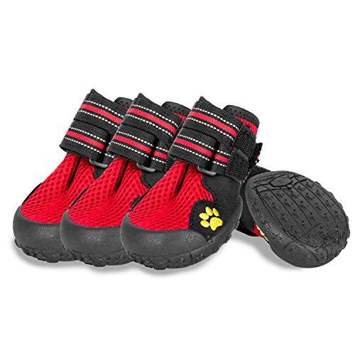 Hengu hond poot beschermende laarzen, anti-slip huisdier hond schoenen met nylon lijm gesp riem ontwerp voor huisdier klimmen, lange tijd wandelen of winter wandelen, S, Rood