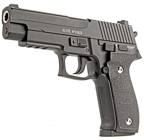 Nick and Ben Softair-Pistole Metall XL 20 cm Federdruck Kugel Spielzeug-Waffe max. 0,5 Joule im Set mit 6 mm BB Airsoft Munition