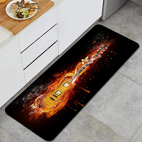 Marutuki Anti-Fatigue La Cuisine Tapis,Guitare électrique en Flammes de feu isolé sur Noir,Antidérapant Coussiné Porte Chambre Baignoire Tapis Couverture Tampon,120 x 45cm