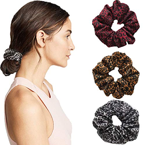 JONKY Bohe Leopard Scrunchies Elastic Grey Cotton Hair Rope for Ponytail Holder Hair Accessories Non Slip Hair Ring for Women and Girls (Pack of 3)