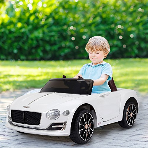 HOMCOM Compatible Electric Kids Ride On Car Bentley GT 12V Battery Powered Toy Two Motors with LED Light Music Parental Remote Control for 3 - 6 Years White Bentley