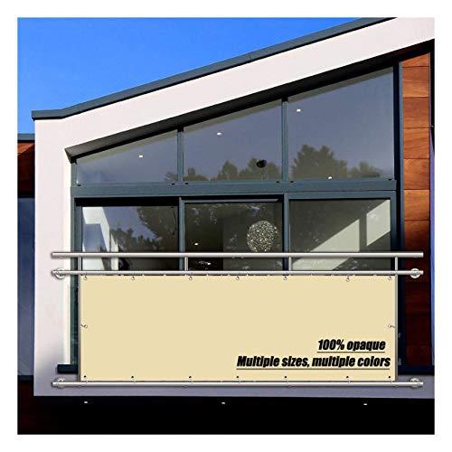 Privacidad de Balcón, Toldos Exterior Lateral, 160g/㎡, Prueba de Viento Anti-Nieve Impermeable para Privacidad de Balcón y Pantallas Protectoras - De Color Crema 0.85x8m