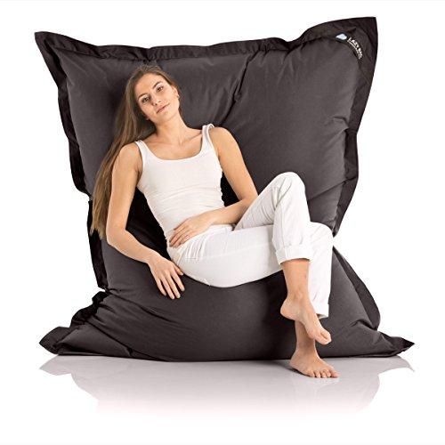Lazy Bag Original Indoor & Outdoor Sitzsack XXL 400L Riesensitzsack Sitzkissen Sessel für Kinder & Erwachsene 180x140cm (Schwarz)