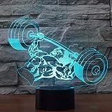 3D LED Press de banca Lámpara de mesa USB 7 colores Cambio de humor Sleep Night Light Levantamiento de pesas Cama Dormitorio Iluminación Decoración Regalos