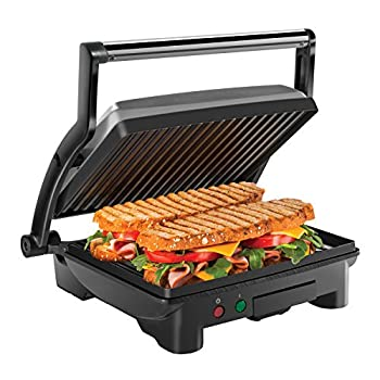 Chefman Panini Press Grill and Gourmet Sandwich Maker Non-Stick Coated Plates Opens 180 Degrees to Fit Any Type or Size of Food Stainless Steel Surface and Removable Drip Tray 4 Slice