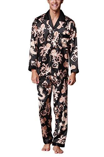 Dolamen Pijamas para Hombre Satén, Hombre Largos Primavera