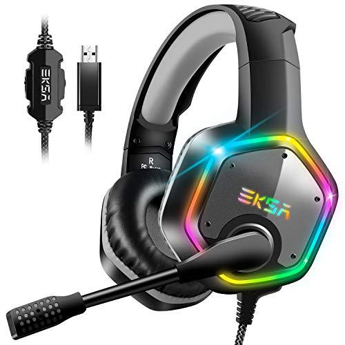 EKSA E1000 Gaming Headset für PS4 PC, Over-Ear Gaming Kopfhörer mit 7,1 Surround Sound 50MM Treiber und Rauschunterdrückung Mikrofon, buntes RGB-Licht, für Laptop Mac Tablet (Schwarz)