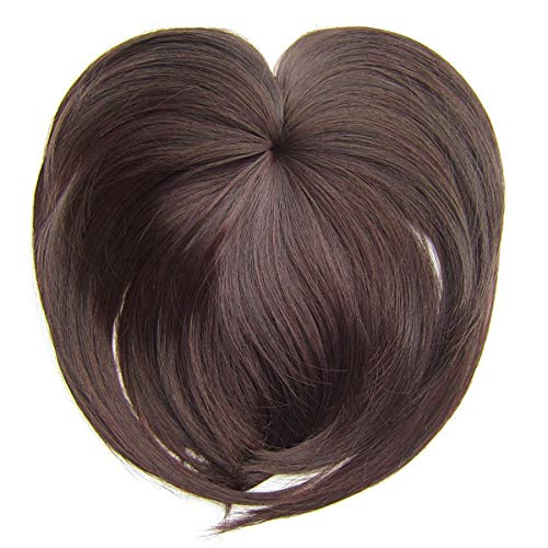 Lurrose Top Hair Piece Synthetic Hair Toppers Clip in Court Straight Bangs Perruque pour femme