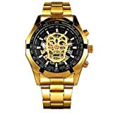 BLACK MAMUT Reloj Hombre Movimiento Análogo Correa Metálic Hebilla Broche Diseño Moderno con Calavera (Dorado)