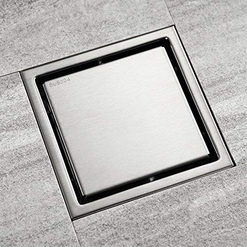Shower Drain,Floor Drain 304 Stainless Steel Square Waste Drain Cover with Base, Adjustable Leveling Feet and Hair Strainer,Brushed Nickel Finished,15x15cm