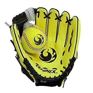 "PHINIX 9"" Baseball Glove Tee Ball Mitts and Foam Ball for Kids Beginner Play Training Right Hand Throw Yellow"