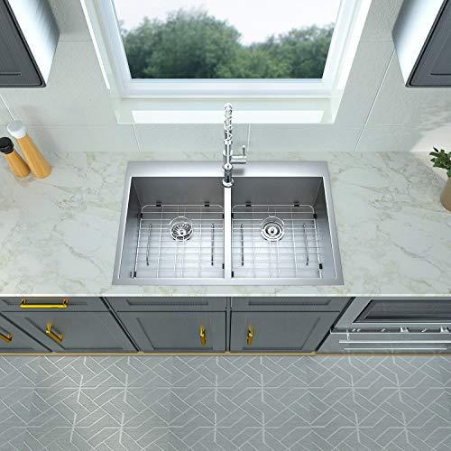 33 Kitchen Sink Double Bowl - Logmey 33x22 Inch Drop In Topmount 18 Gauge Stainless Steel Double Boel 50/50 Kitchen Sink