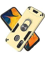 FAWUMAN Funda para Samsung Galaxy A20 Soft TPU + Duro PC Doble Parachoques Cubierta a Anillo Soporte con Soporte y Carcasa Desmontable, Funda Protectora Serie Armadura (Dorado)